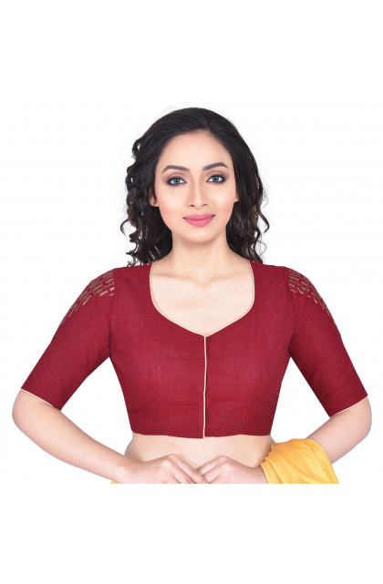 Maroon South Cotton Embroidered Blouse