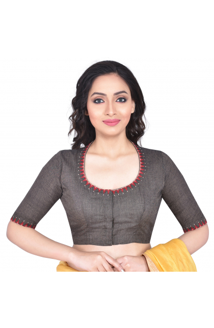 Dark Grey South Cotton Embroidered Blouse