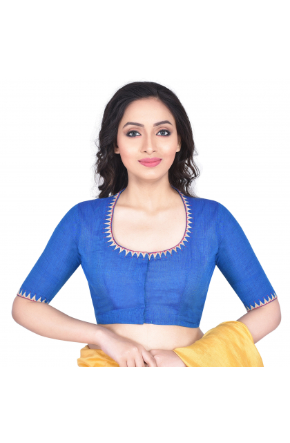 Blue South Cotton Embroidered Blouse