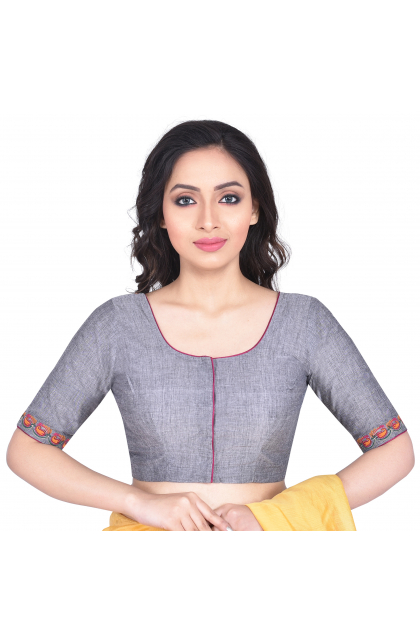 Grey South Cotton Embroidered Blouse