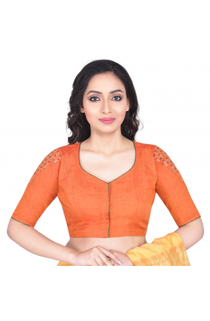 Orange South Cotton Embroidered Blouse