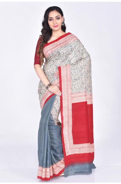 Grey Tussar Printed Saree