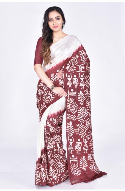 Brown Batik Silk Saree
