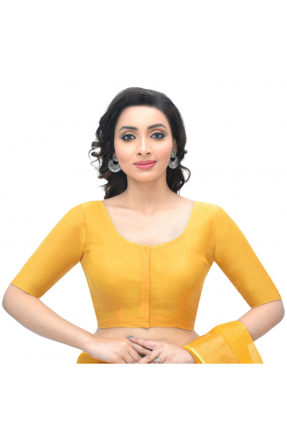Yellow Cotton Tussar Blouse