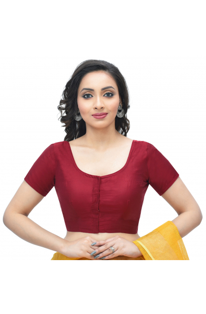 Red Cotton Tussar Solid Blouse