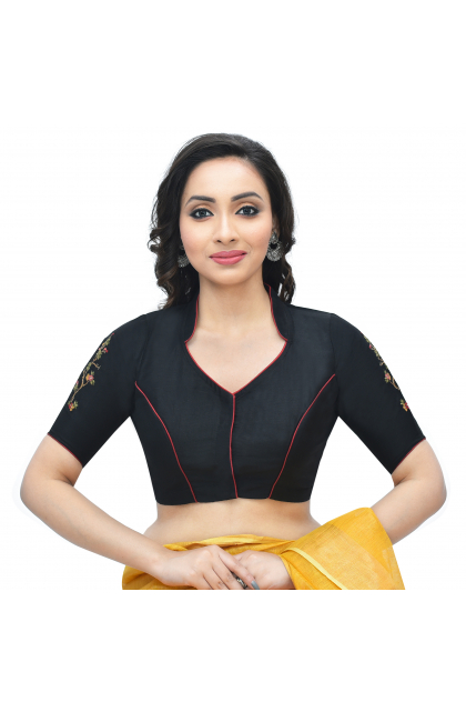 Black Cotton Tussar embroidered Blouse