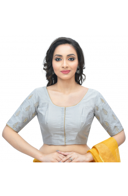 Grey Cotton Tussar Embroidered  Blouse