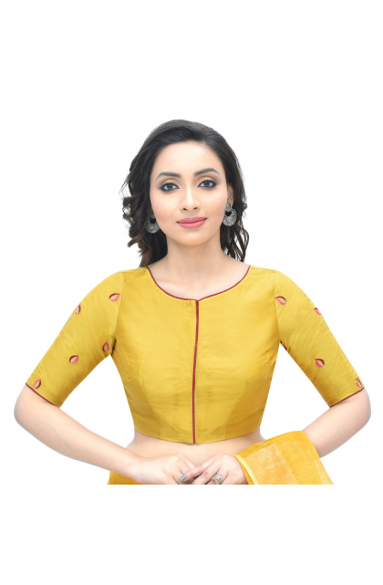 Yellow Cotton Tussar Embroidered Blouse