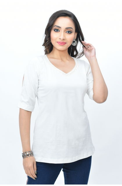 White Solid Sinker Top