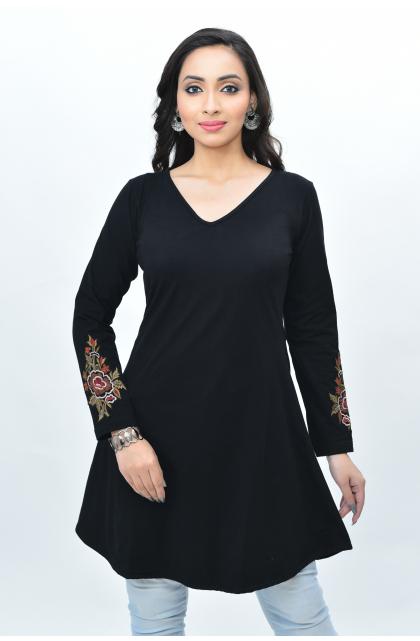 Black Embroidered Lycra Top