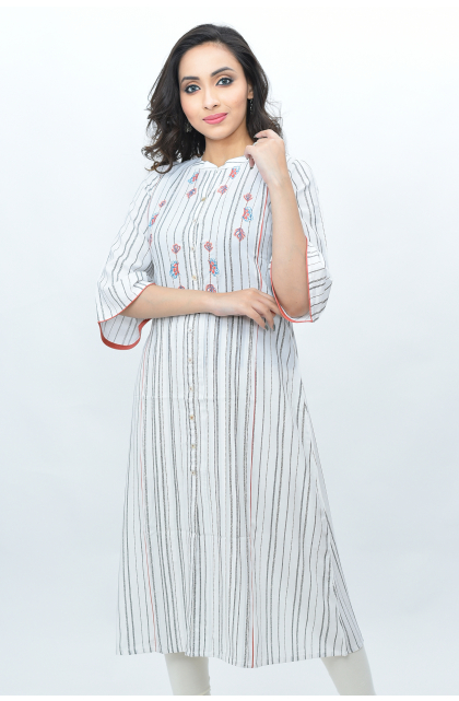 White Rayon Embroidered Long Kameez