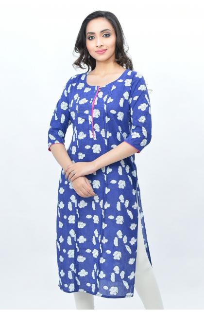Blue Cotton Printed Long Kameez