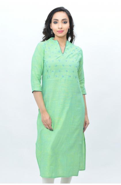 Green Linen Long Kameez