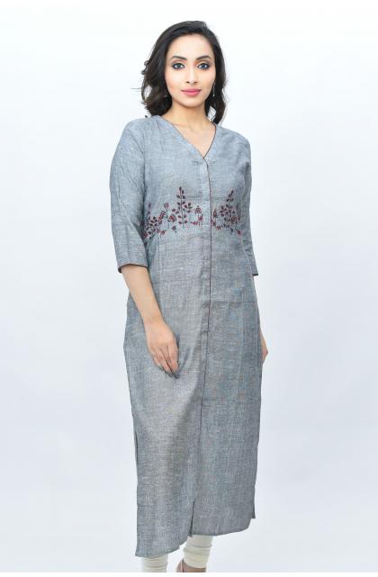 Grey Linen Embroidered Long Kameez