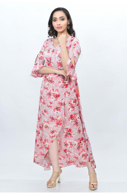 Pink Semi Crepe Printed Long Dress