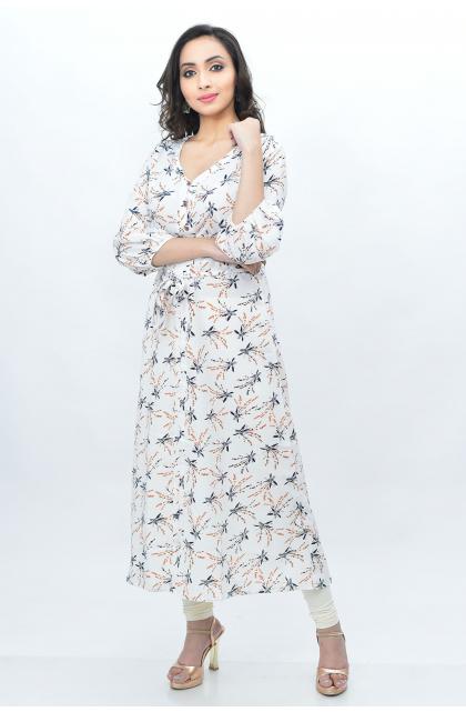 White Printed Semi Crepe Long Dress