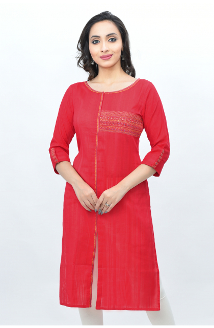 Red Cotton Embroidered Long Kameez
