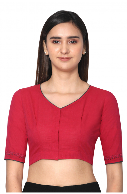 Pink South Cotton Embroidered  Blouse
