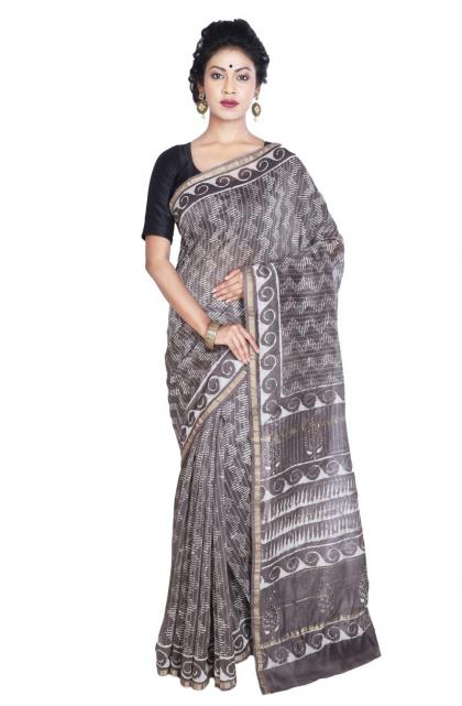 Grey Printed Chanderi Saree