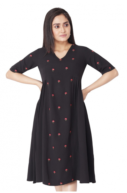 BLACK GEORGETTE EMBROIDERED  LONG DRESS