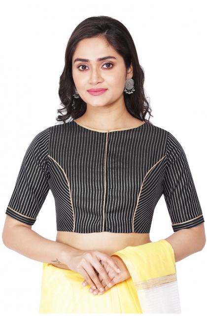 Black Striped Chanderi Blouse
