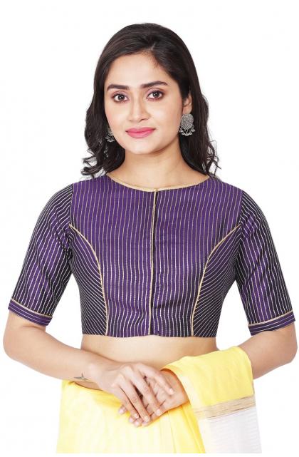 Violet Striped Chanderi Blouse