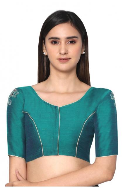 Green Slub Embroidered Blouse