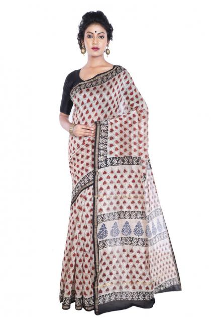 Beige Chanderi Printed Saree