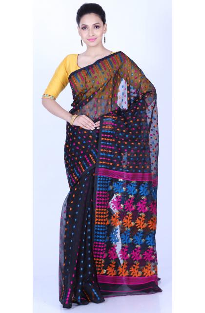 Black Cotton Blend Jamdani Saree