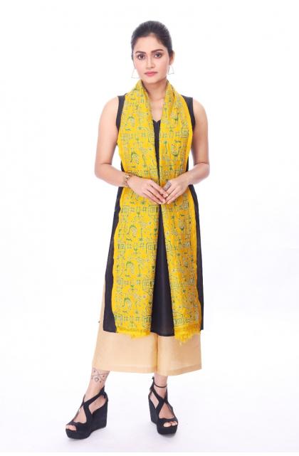 Yellow Hand Embroidery Kantha Dupatta