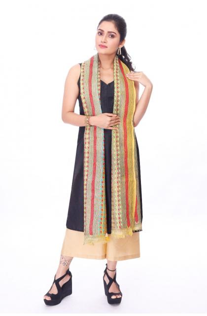 Beige Hand Embroidered Kantha Dupatta