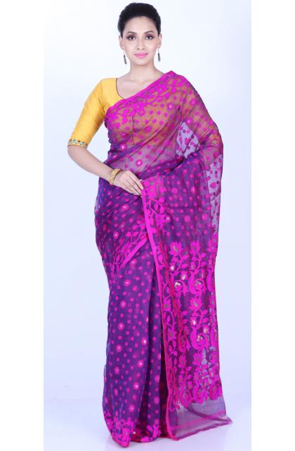 Purple Cotton Silk Jamdani Saree