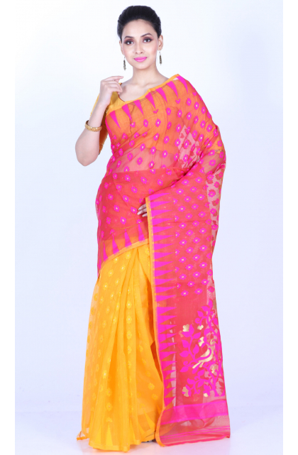 Yellow Cotton Silk Jamdani Saree