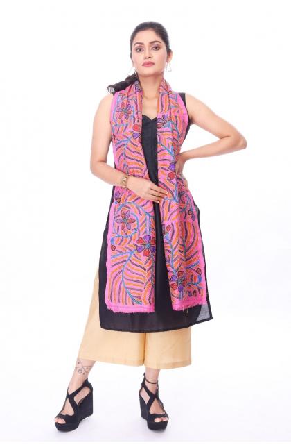 Pink Hand Embroidered Kantha Dupatta