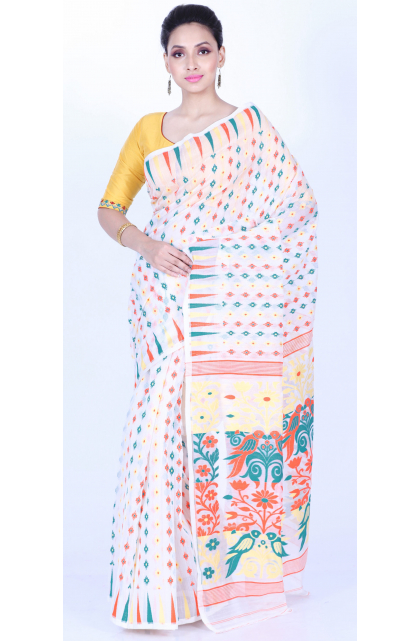 White Cotton Silk Jamdani Saree