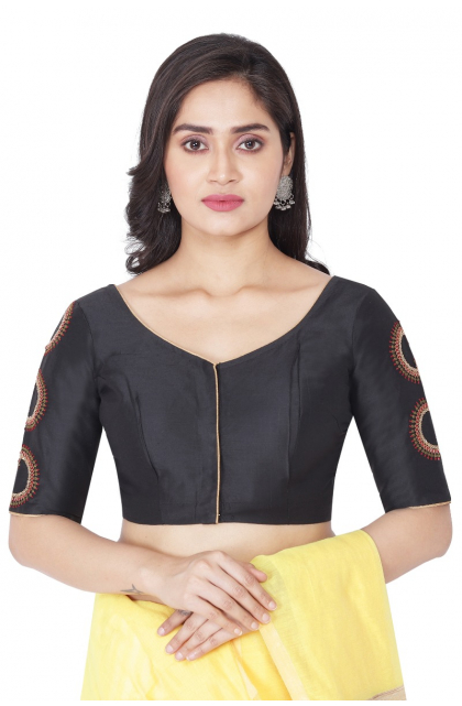 BLACK COTTON TUSSAR EMBROIDERED EXCLUSIVE BLOUSE