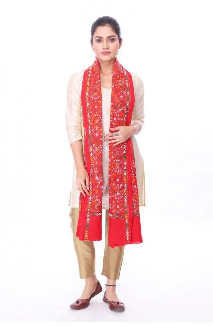 Red Cotton Hand Embroidered Kantha Dupatta