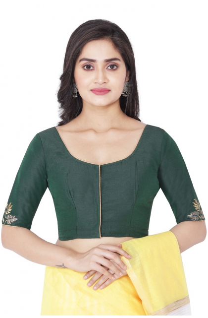 GREEN COTTON TUSSAR EMBROIDERED BLOUSE