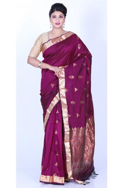 Magenta Silk Woven Saree