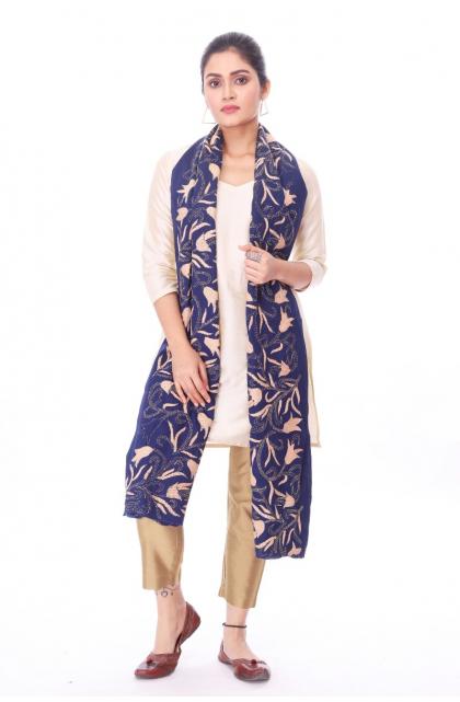 Blue Cotton Hand Embroidery Kantha Dupatta