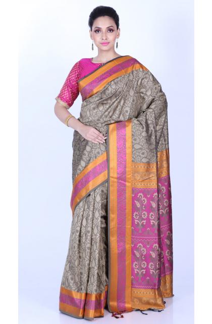 Grey Blended Silk Saree