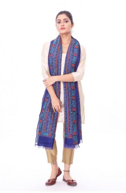 Blue Silk Hand Embroidered Kantha Dupatta