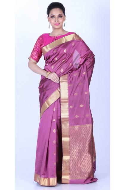 Pink Temple Border Jacquard Silk Saree