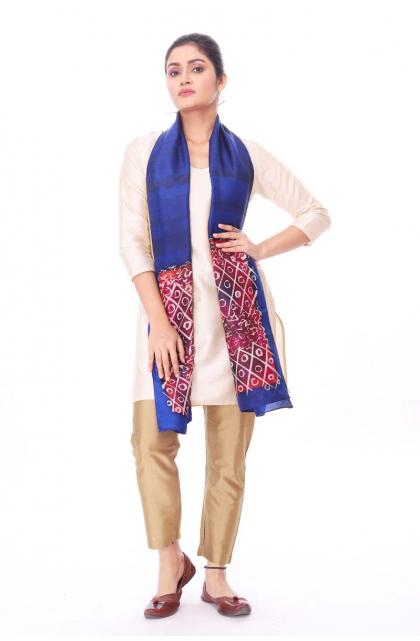 Blue Silk Batik Stole