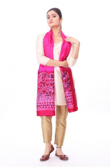 Pink Silk Batik Stole