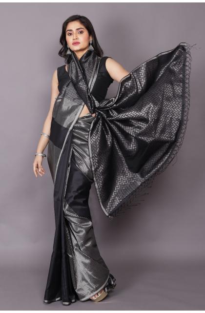 Black  Partywear Silk saree
