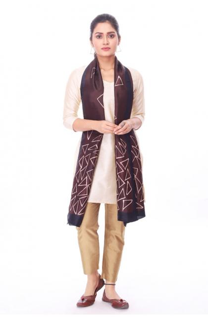 Brown Silk Batik Stole