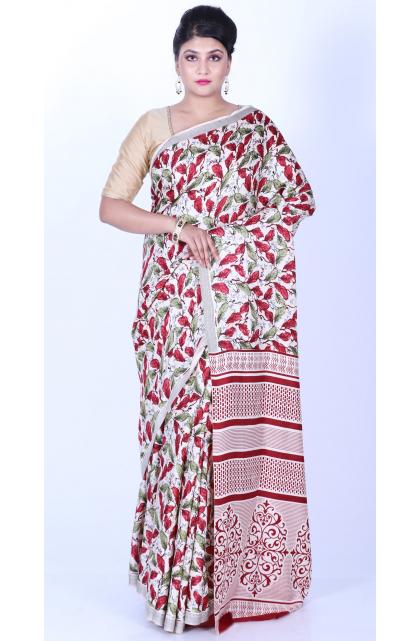 Multicolor Dupion Bhagalpuri Printed Saree