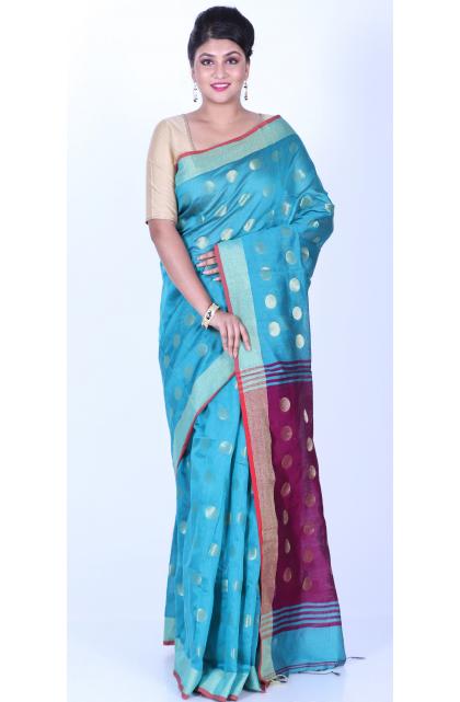 Light Blue Cotton Blend Handloom Saree