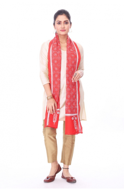 Red Silk Hand Embroidered Stole